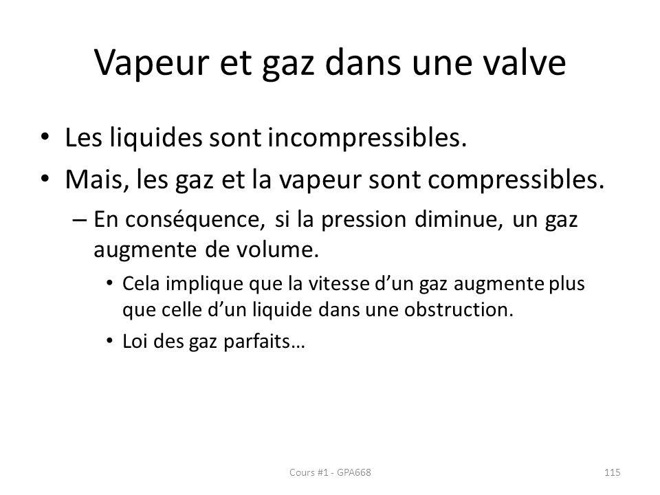 Vapeur et gaz dans une valve