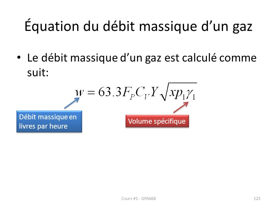 Équation du débit massique d'un gaz