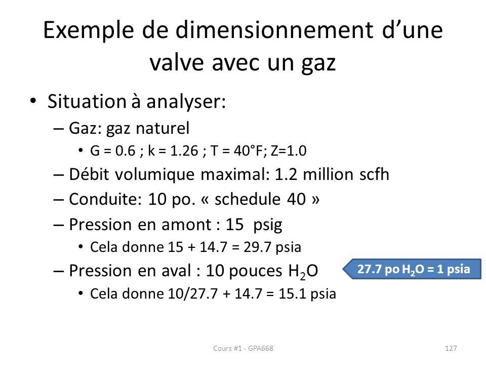 Exemple de dimensionnement d'une valve avec un gaz