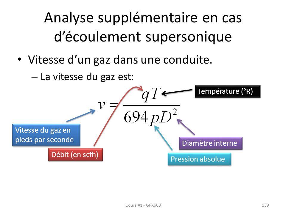 Analyse supplémentaire en cas d'écoulement supersonique