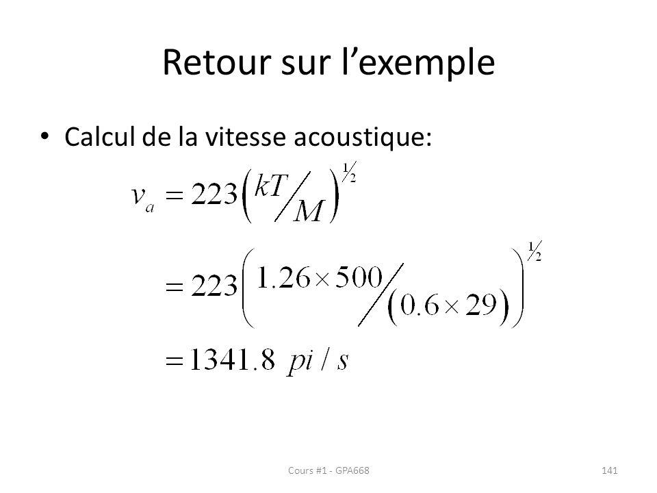 Retour sur l'exemple Calcul de la vitesse acoustique: