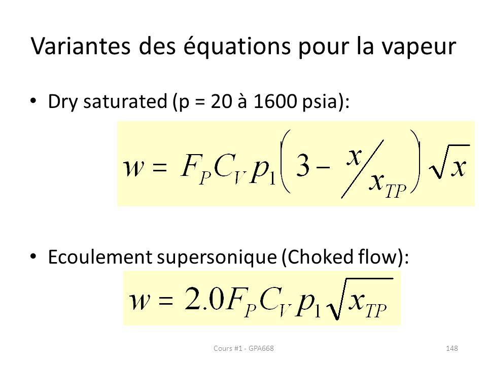 Variantes des équations pour la vapeur