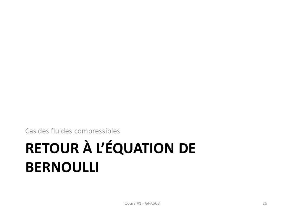 Retour À l'équation de Bernoulli