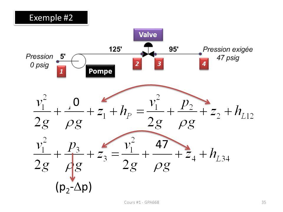 Exemple #2 Valve 2 3 4 1 Pompe 47 (p2-Dp) Cours #1 - GPA668