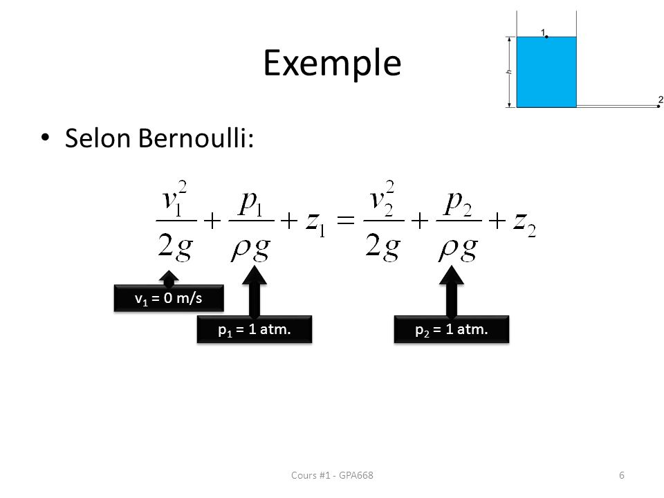Exemple Selon Bernoulli: p1 = 1 atm. p2 = 1 atm. v1 = 0 m/s