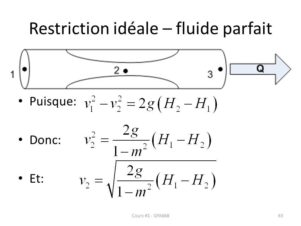 Restriction idéale – fluide parfait