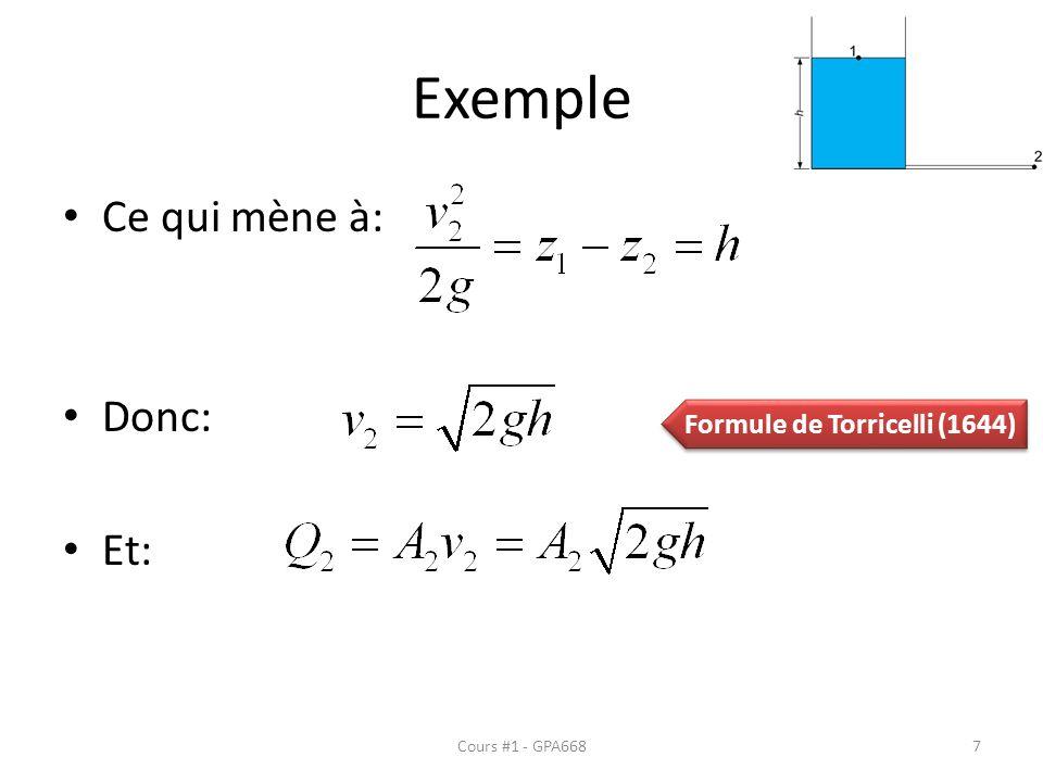 Formule de Torricelli (1644)