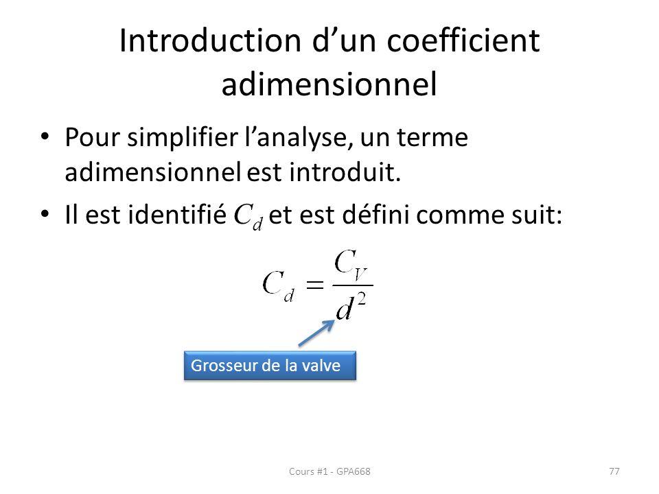 Introduction d'un coefficient adimensionnel