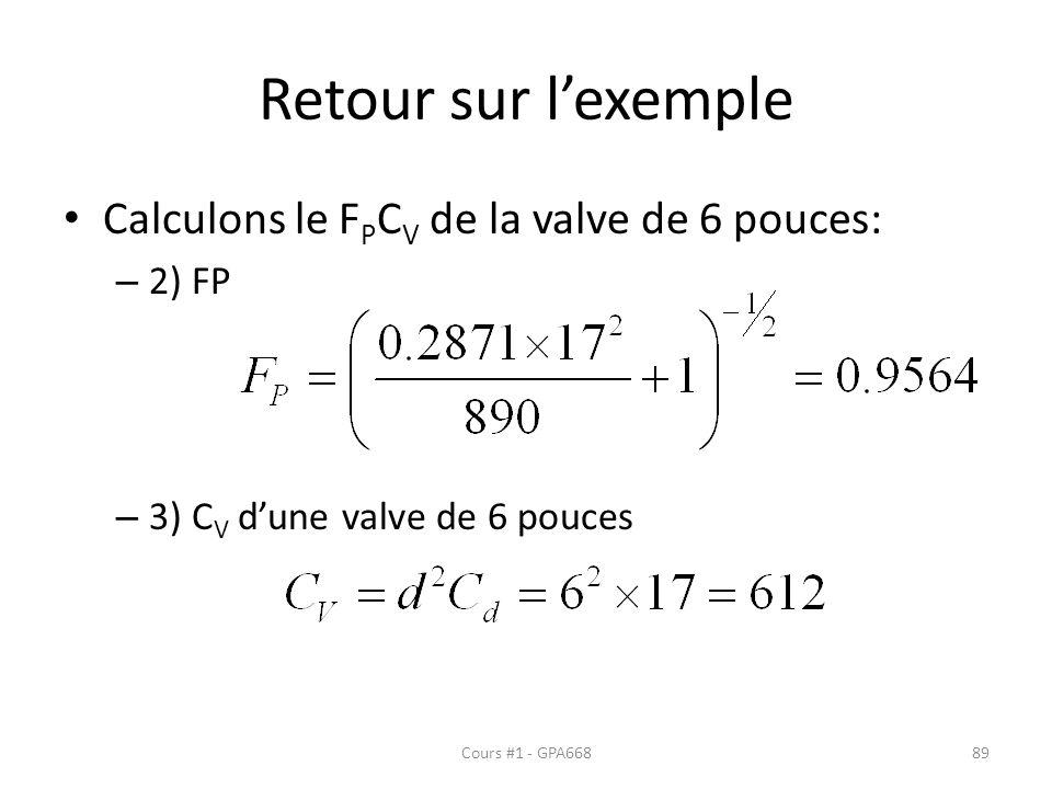 Retour sur l'exemple Calculons le FPCV de la valve de 6 pouces: 2) FP
