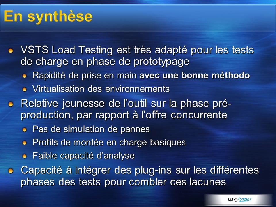 En synthèse VSTS Load Testing est très adapté pour les tests de charge en phase de prototypage. Rapidité de prise en main avec une bonne méthodo.