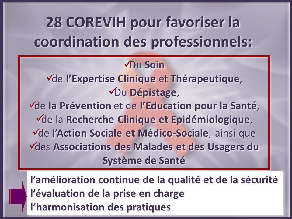 28 COREVIH pour favoriser la coordination des professionnels: