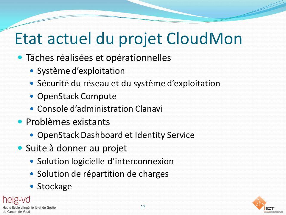 Etat actuel du projet CloudMon