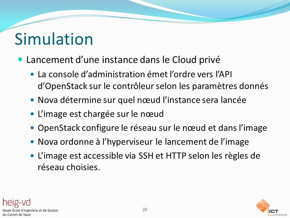 Simulation Lancement d'une instance dans le Cloud privé