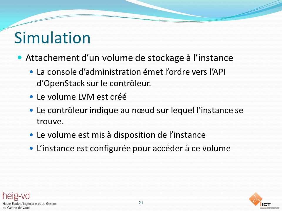 Simulation Attachement d'un volume de stockage à l'instance