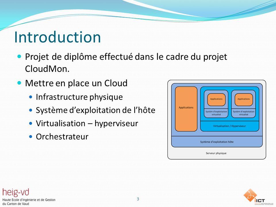 Introduction Projet de diplôme effectué dans le cadre du projet CloudMon. Mettre en place un Cloud.