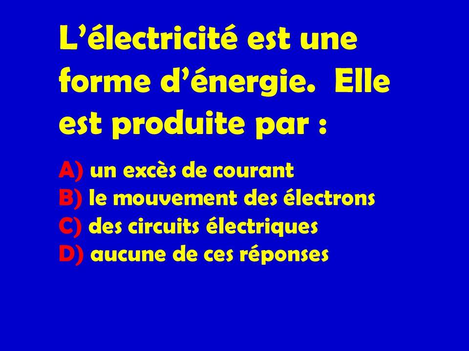 L'électricité est une forme d'énergie