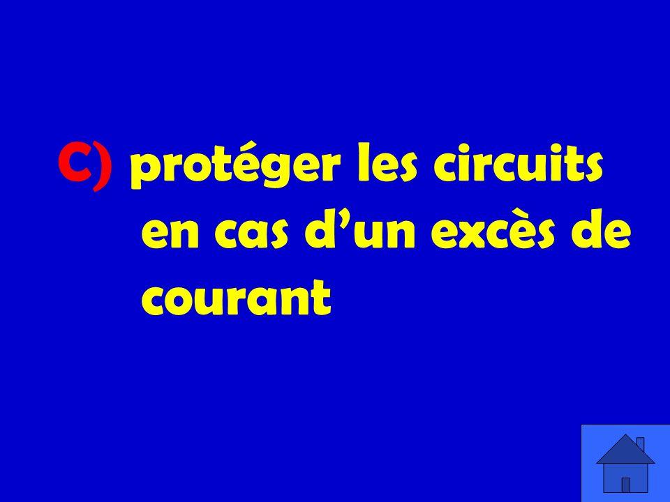 C) protéger les circuits en cas d'un excès de courant