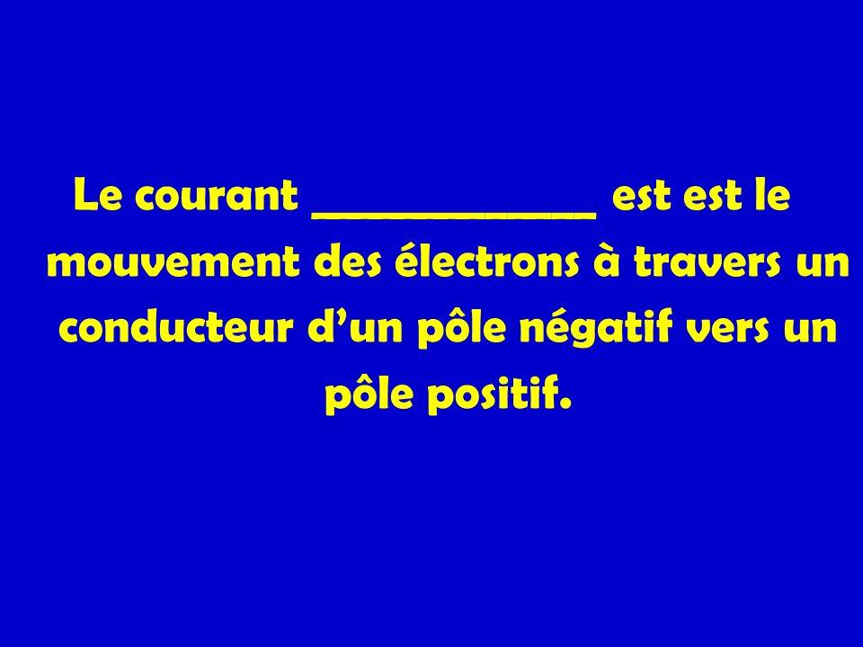 Le courant _____________ est est le mouvement des électrons à travers un conducteur d'un pôle négatif vers un pôle positif.