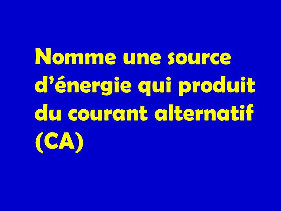 Nomme une source d'énergie qui produit du courant alternatif (CA)