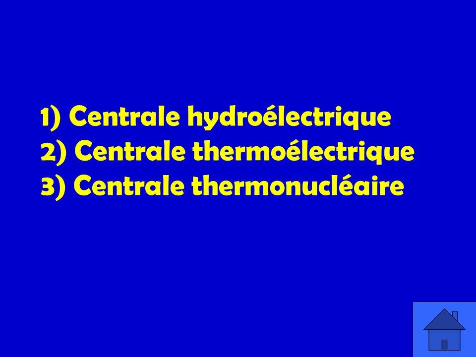 1) Centrale hydroélectrique 2) Centrale thermoélectrique 3) Centrale thermonucléaire