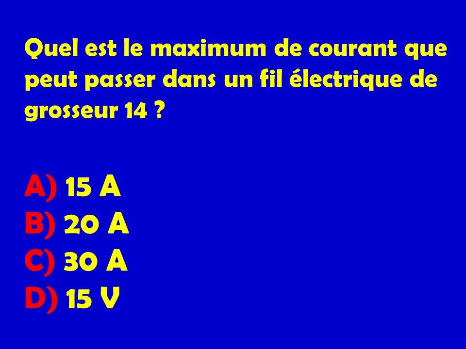 Quel est le maximum de courant que peut passer dans un fil électrique de grosseur 14 .