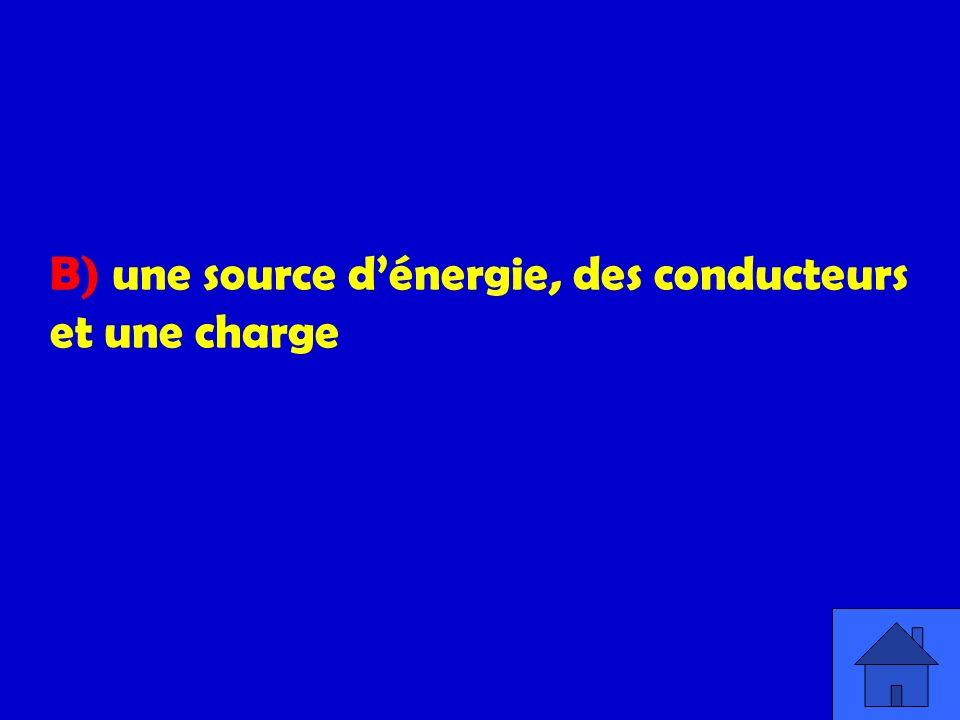 B) une source d'énergie, des conducteurs et une charge