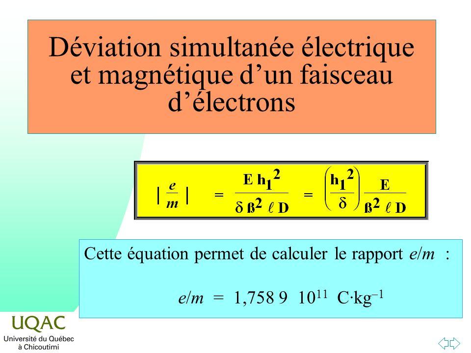 Déviation simultanée électrique et magnétique d'un faisceau d'électrons
