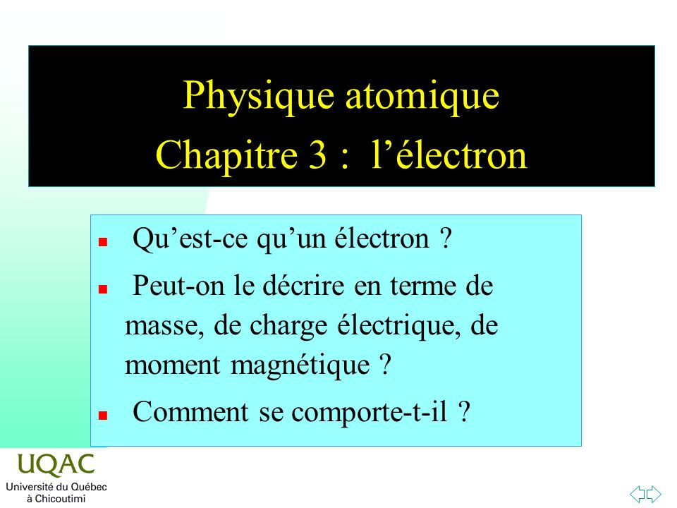Physique atomique Chapitre 3 : l'électron