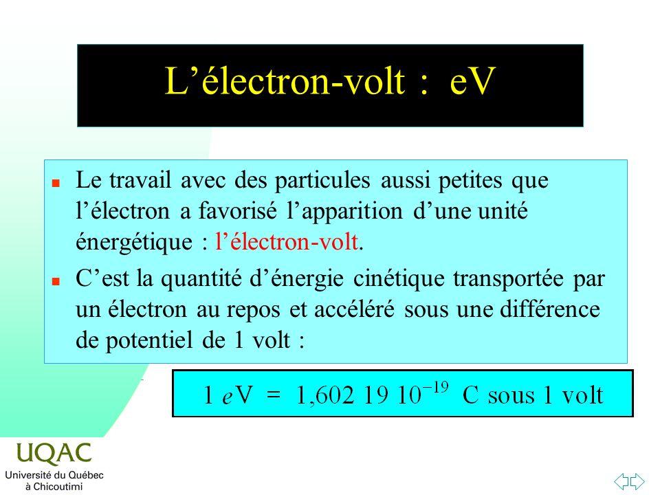 L'électron-volt : eV Le travail avec des particules aussi petites que l'électron a favorisé l'apparition d'une unité énergétique : l'électron-volt.