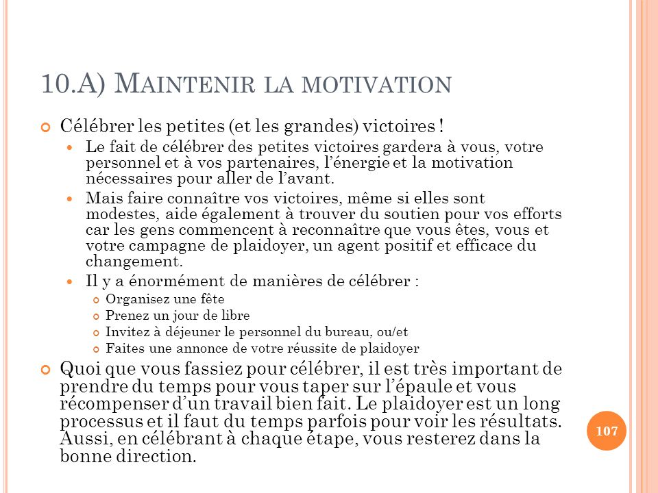 10.A) Maintenir la motivation