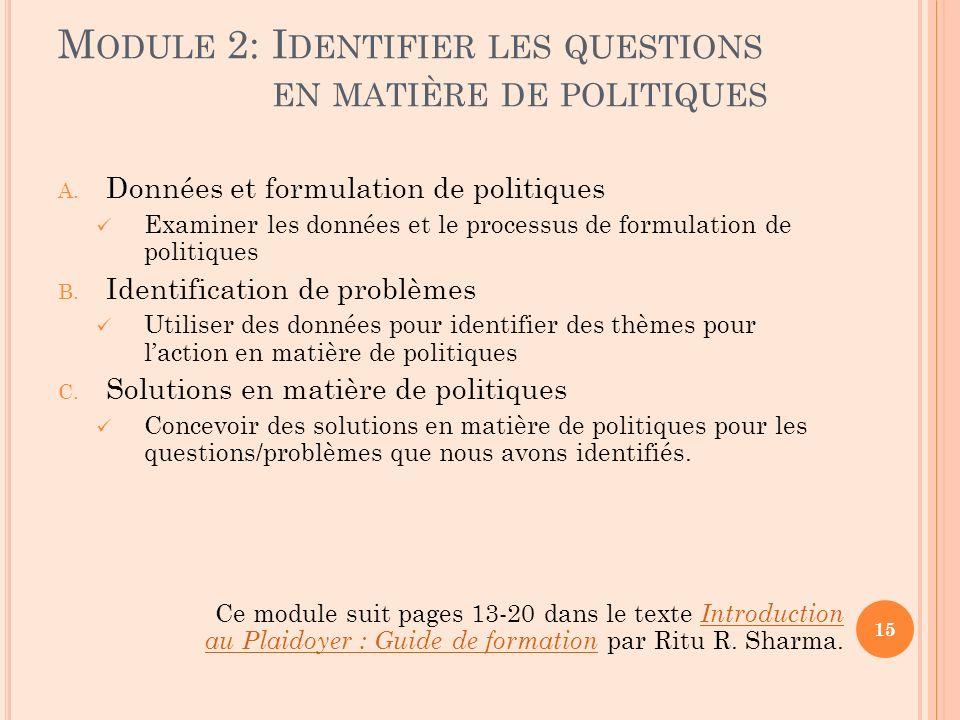 Module 2: Identifier les questions en matière de politiques