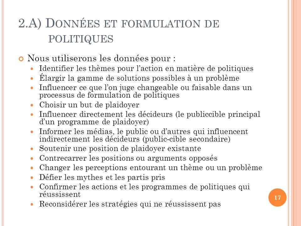 2.A) Données et formulation de politiques