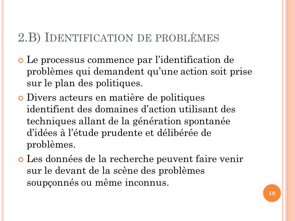 2.B) Identification de problèmes