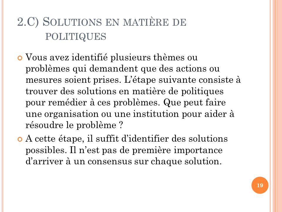 2.C) Solutions en matière de politiques
