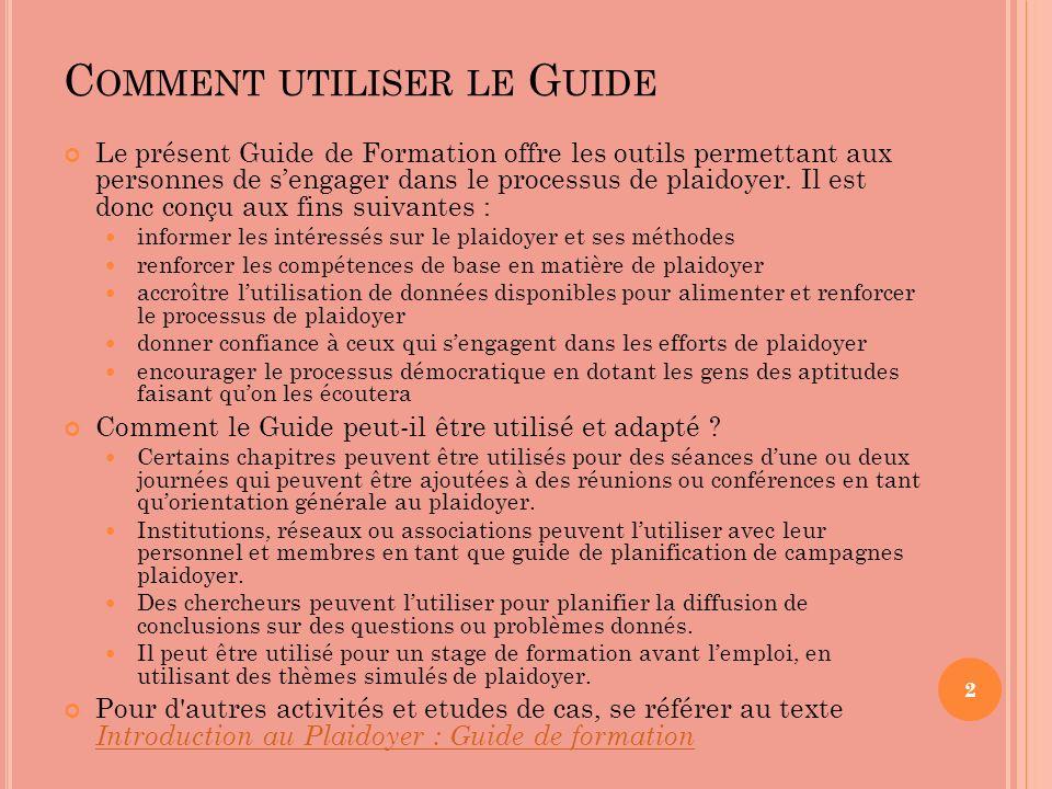 Comment utiliser le Guide