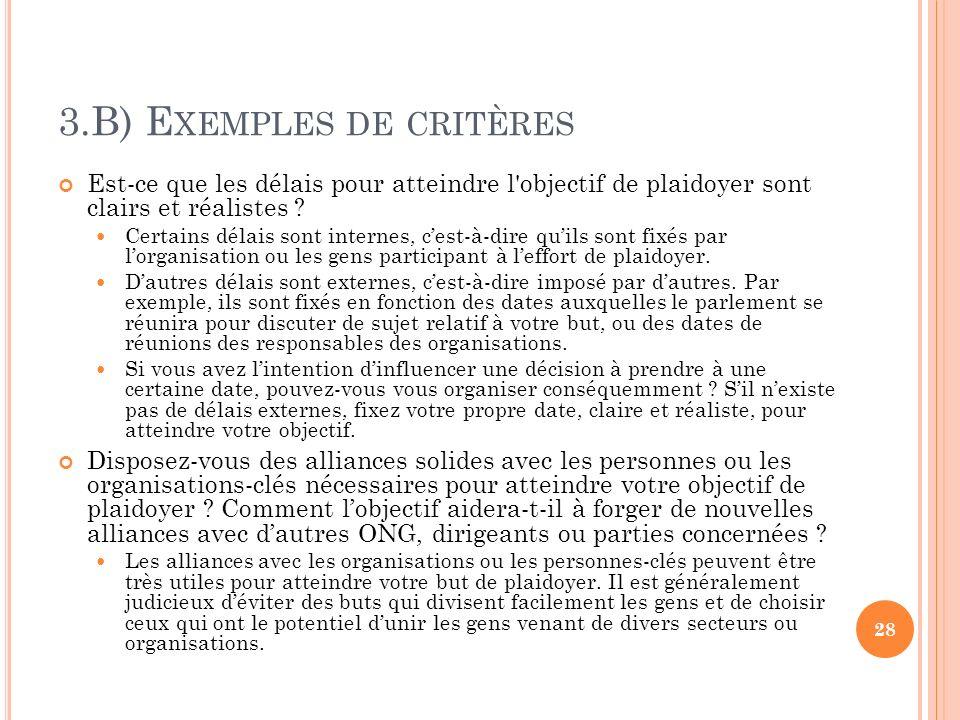 3.B) Exemples de critères
