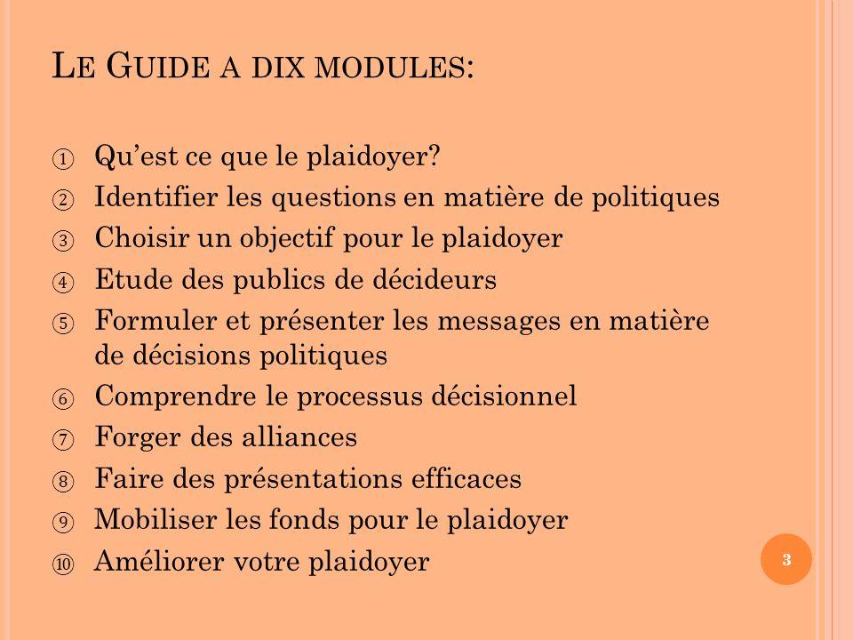 Le Guide a dix modules: Qu'est ce que le plaidoyer