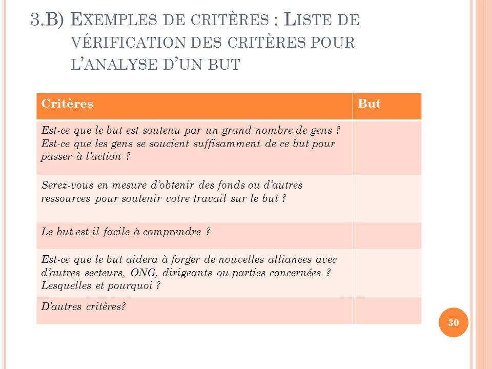 3.B) Exemples de critères : Liste de vérification des critères pour l'analyse d'un but