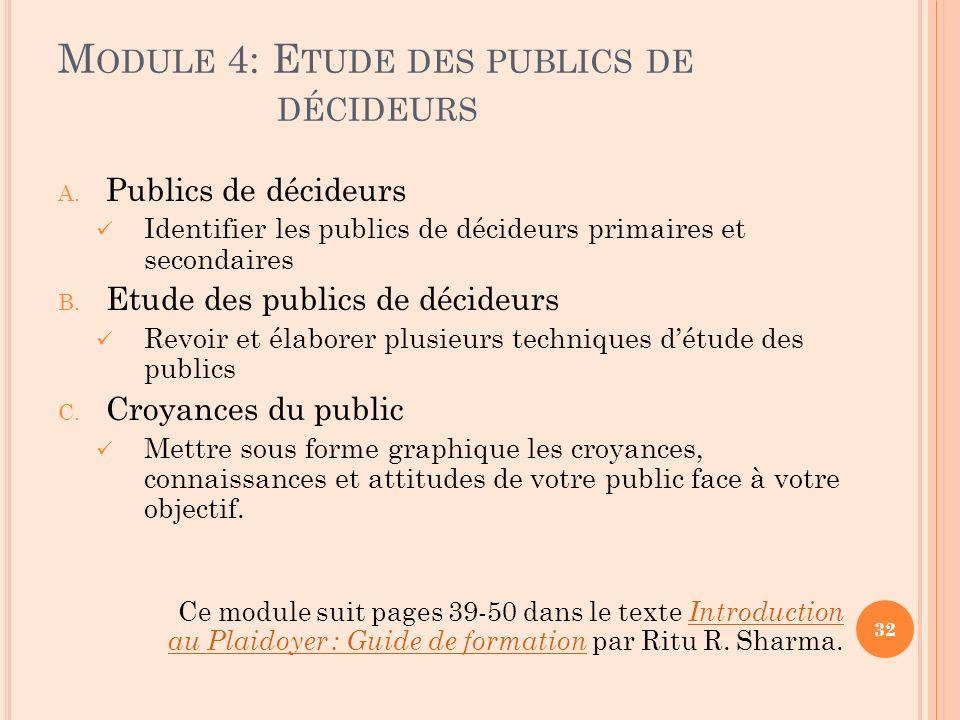 Module 4: Etude des publics de décideurs
