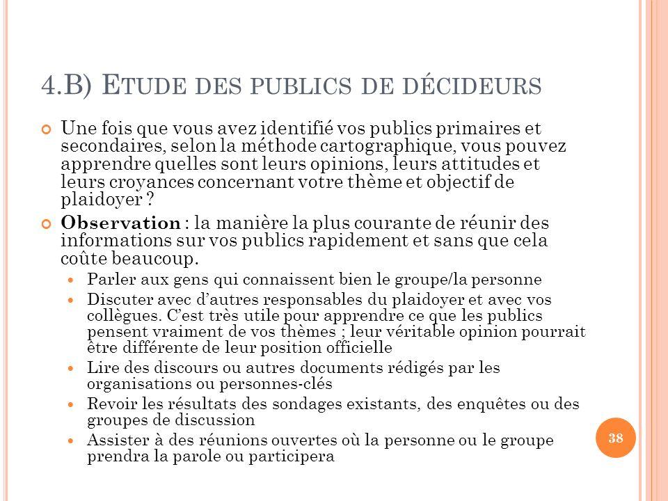 4.B) Etude des publics de décideurs