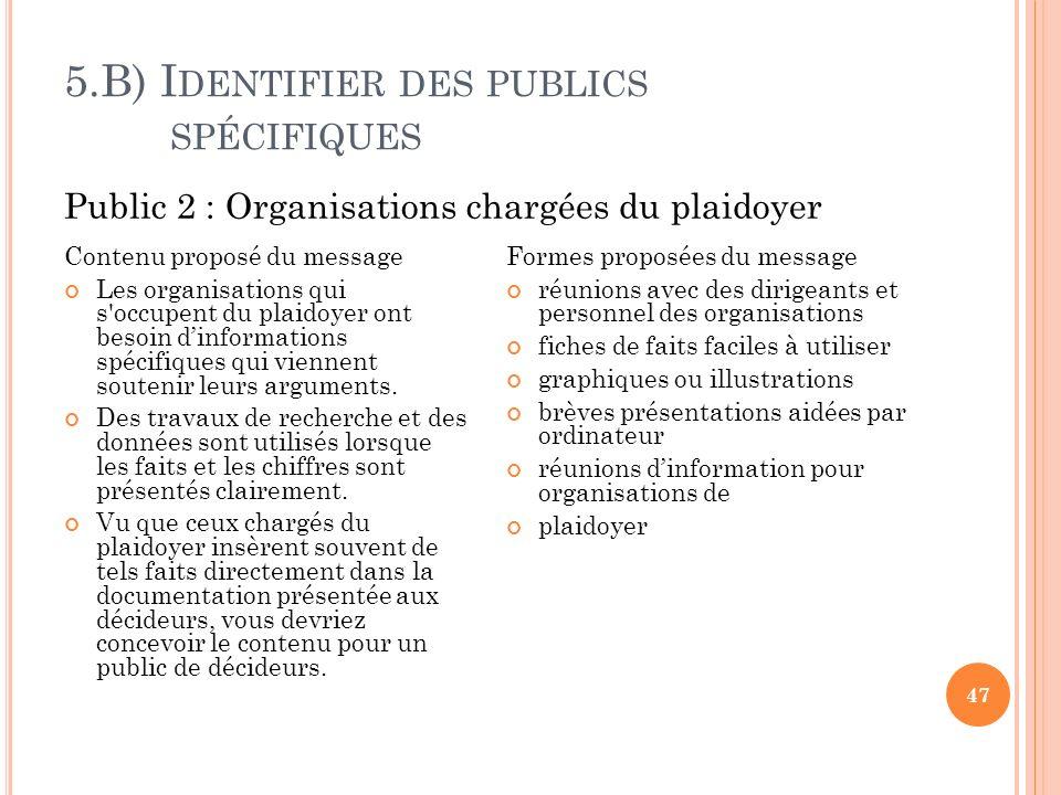 5.B) Identifier des publics spécifiques