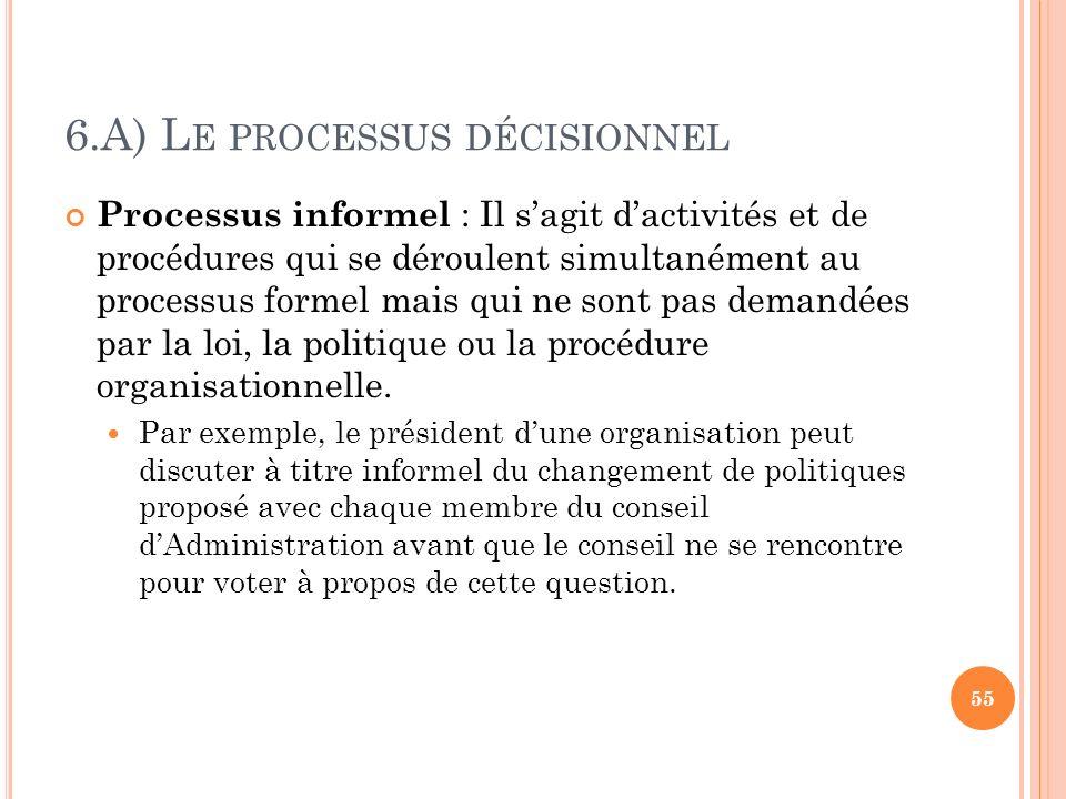 6.A) Le processus décisionnel