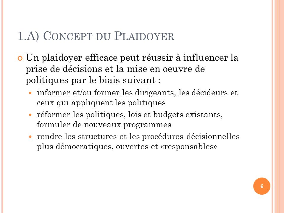 1.A) Concept du Plaidoyer