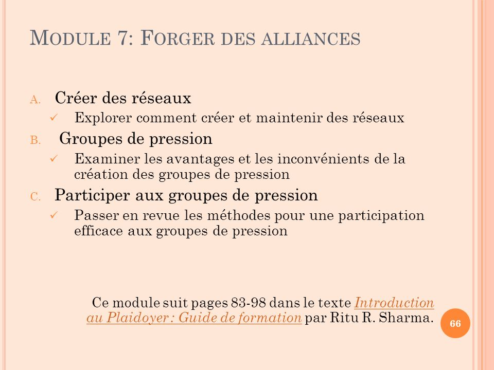 Module 7: Forger des alliances