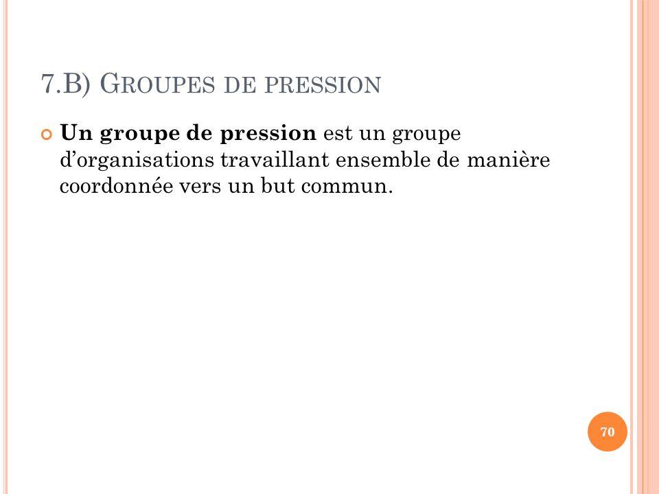 7.B) Groupes de pression Un groupe de pression est un groupe d'organisations travaillant ensemble de manière coordonnée vers un but commun.