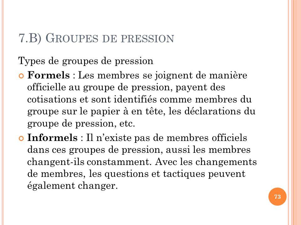 7.B) Groupes de pression Types de groupes de pression