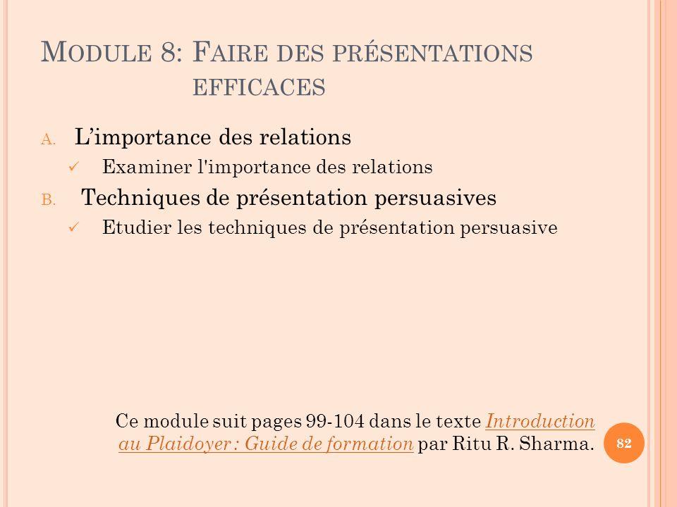 Module 8: Faire des présentations efficaces