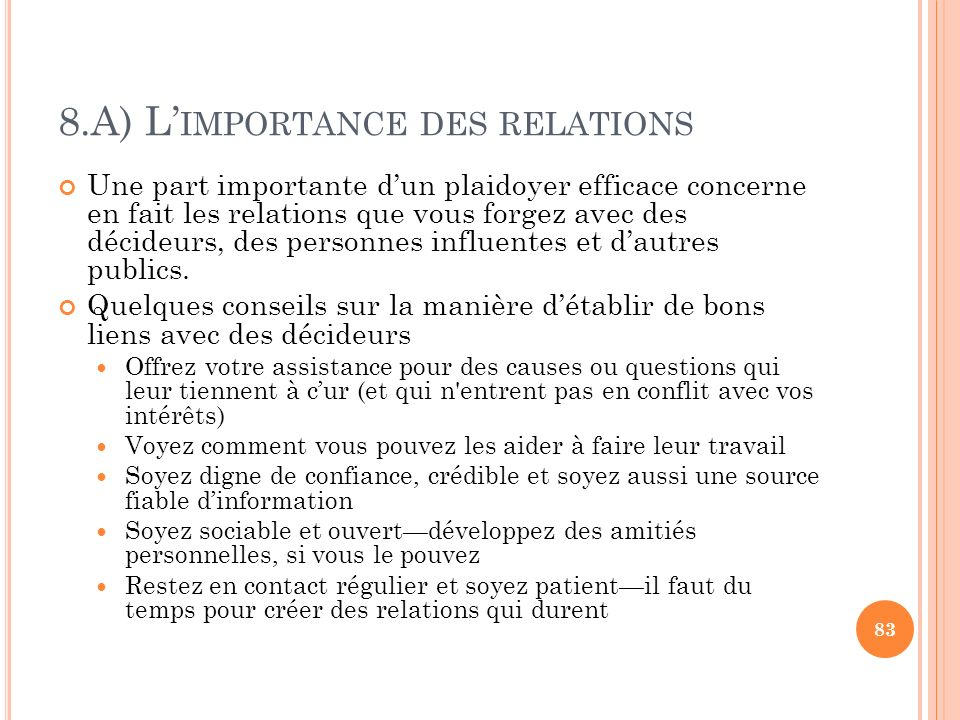 8.A) L'importance des relations