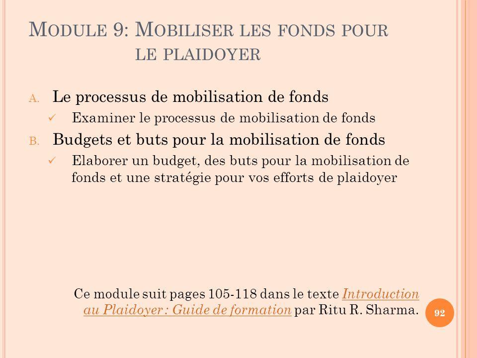 Module 9: Mobiliser les fonds pour le plaidoyer