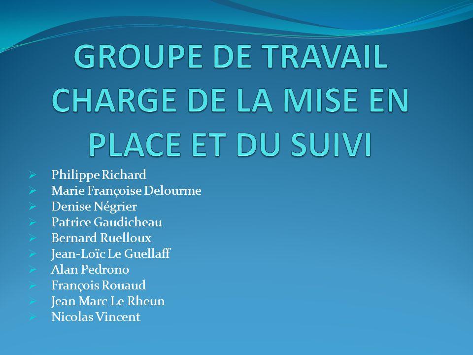 GROUPE DE TRAVAIL CHARGE DE LA MISE EN PLACE ET DU SUIVI